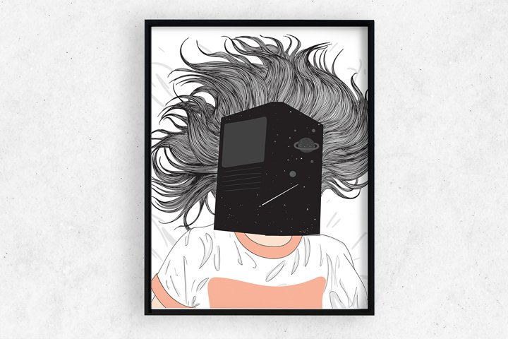 Art Print | Wall art Girl sleeping and reading