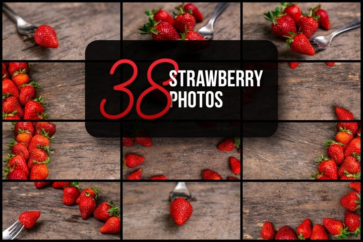 Set of 38 strawberry photos