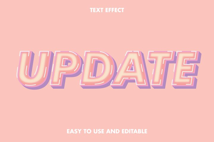 Update text effect. editable and easy to use. premium vector