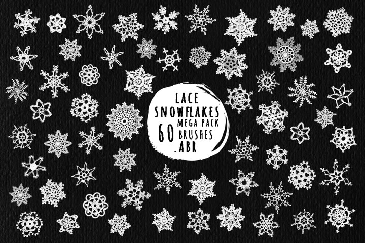 Lace snowflakes brushes for Photoshop, ProCreate BIG Pack