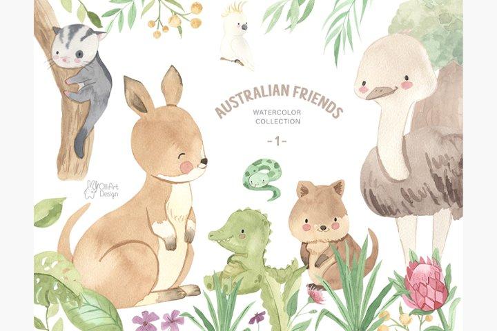 Australian animals clipart. Watercolor kangaroo, quokka etc.