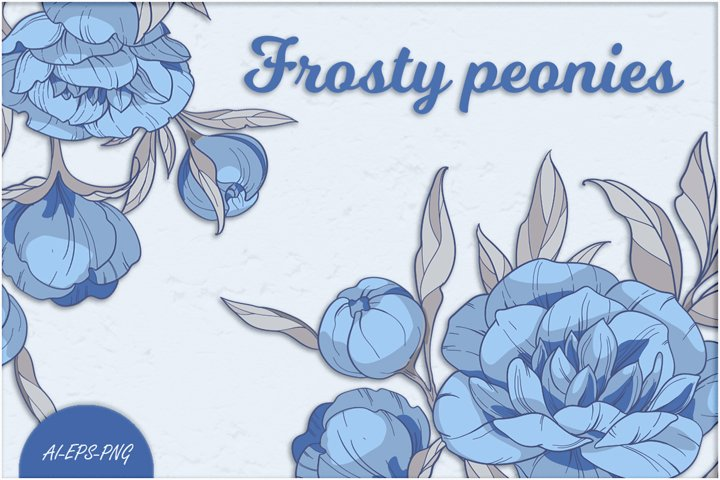 Vector Clipart with blue peonies flowers