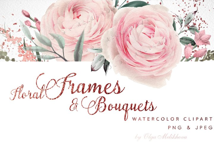 Watercolor flower cliparts, Frame & bouquets
