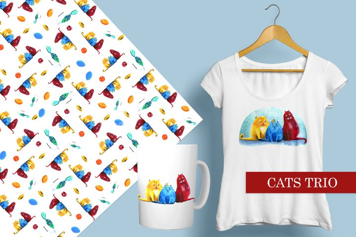 Colorful trio of cats. Funny and bright illustration pattern