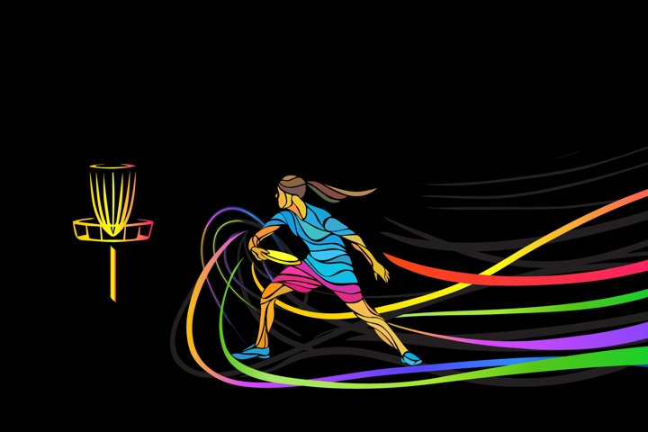 Disc golf or frolf woman player illustration vector graphic