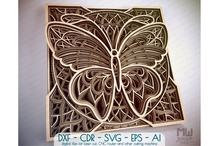A01 - Layered Butterfly DXF Laser Cut, Layered Butterfly SVG
