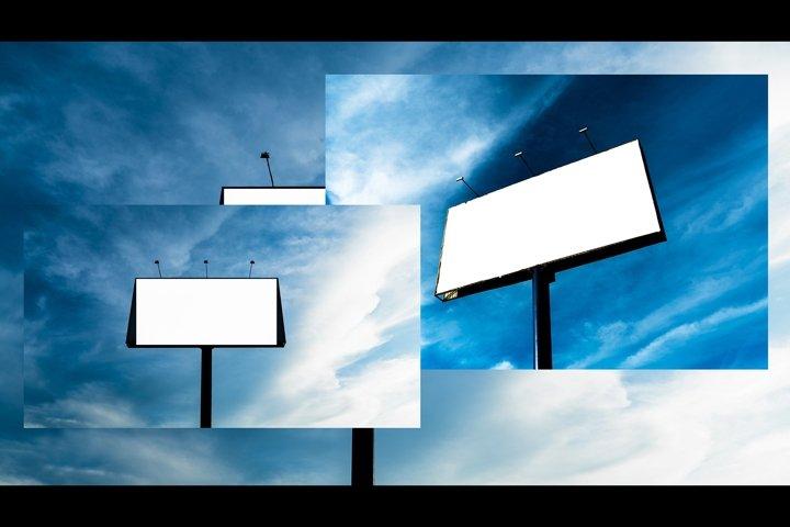 Blank billboard with blue sky background