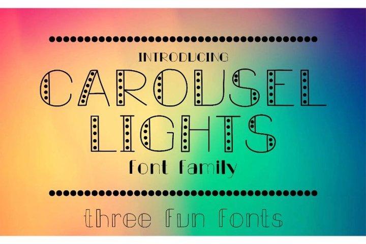 Carousel Lights Font Family, Three Fun Fonts