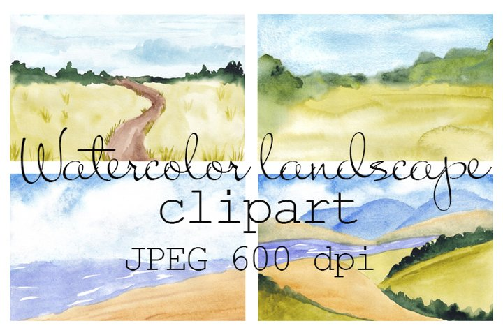 Watercolor landscape blurred backgrounds, Fields and Sea