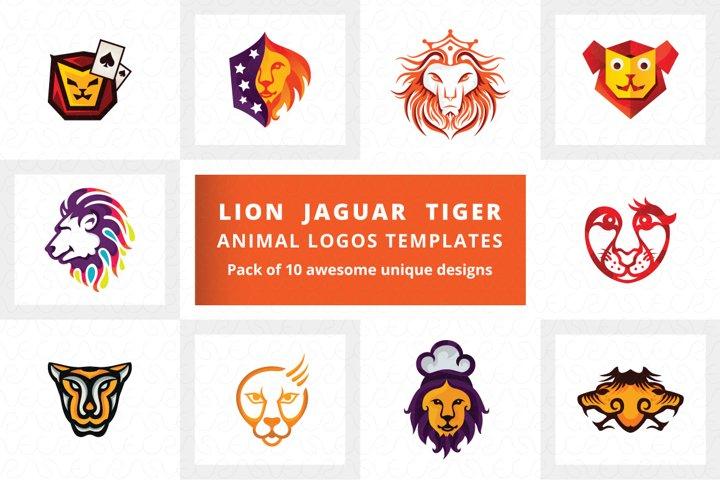 Lion Jaguar Tiger Animal Logo Templates Pack of 10