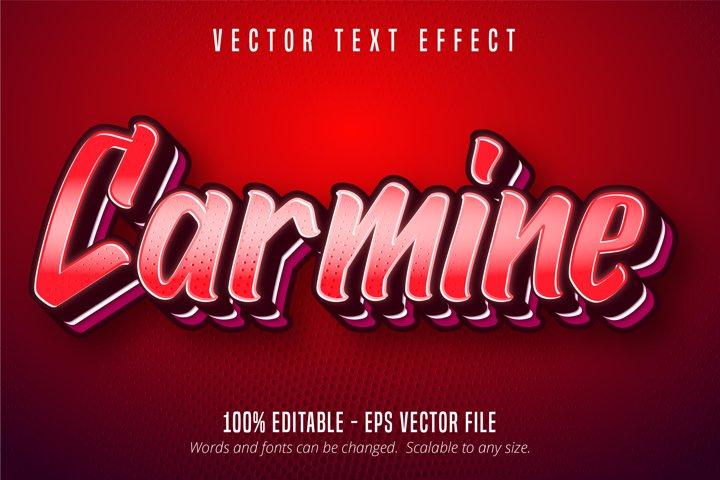Carmine text, red color pop art style editable text effect