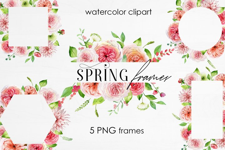 Watercolor Spring Frames Flowers and Roses Clipart