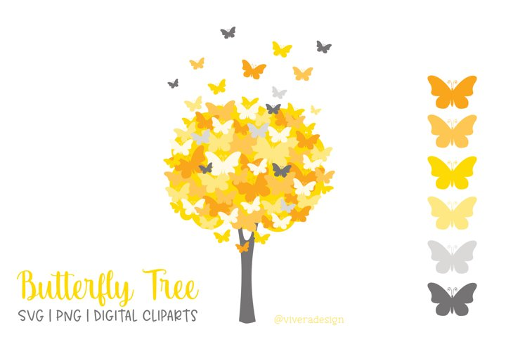 Butterfly Tree PNG SVG in Yellow and Grey