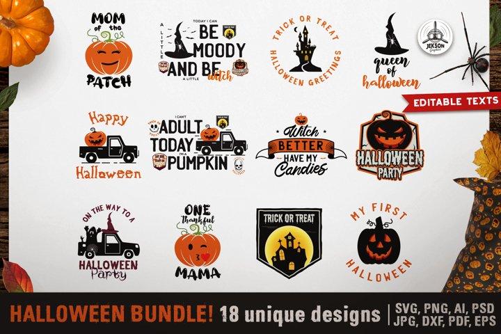 Halloween Bundle 18 SVG DXF PNG for Cricut Pumpkin Quotes
