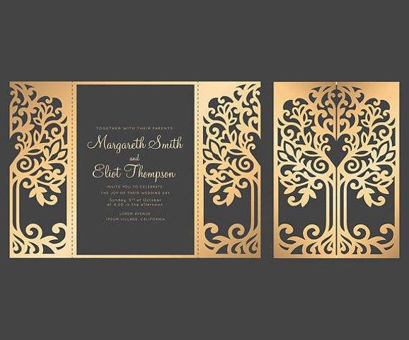 SVG Tree Gate fold wedding invitation , 5x7, Cricut Template