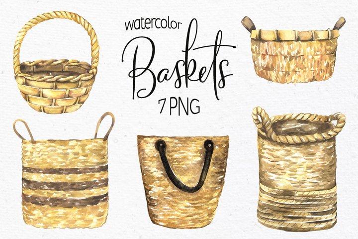 Watercolor Baskets Clipart PNG