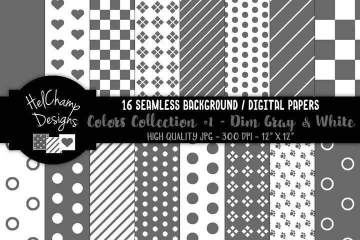 16 seamless Digital Papers - Dim Gray and White - HC104