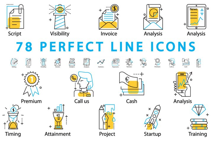 78 PERFECT LINE ICONS example
