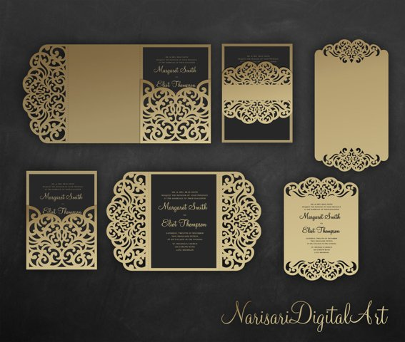 Laser cut wedding invitation Set, 5x7, SVG Cricut Template
