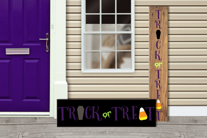 Trick or Treat Halloween Porch Sign SVG Design