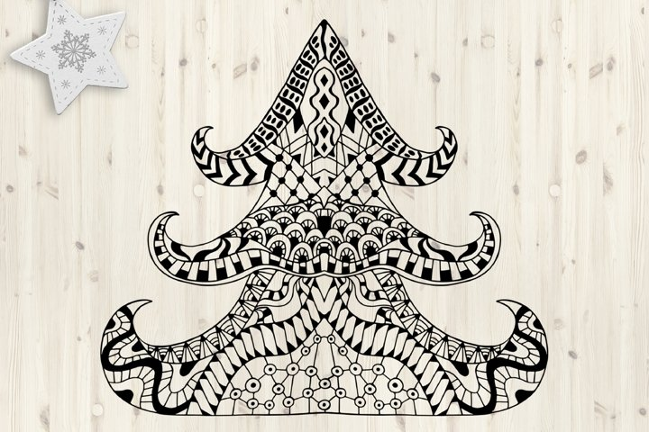 Christmas tree SVG. Merry Christmas Svg. Zentangle clipart.