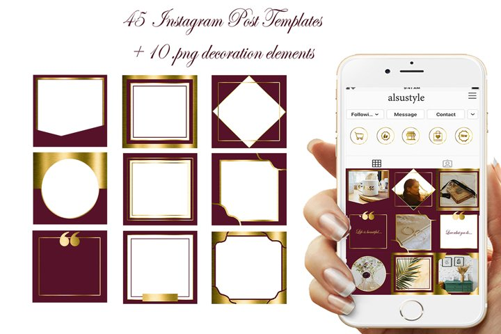 45 Burgundy Gold Instagram Post Templates, canva templates