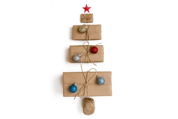 Christmas tree made of gift boxes wrapped in kraft paper