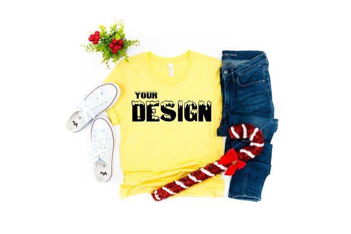Bella Canvas 3001 Yellow T-shirt Mockup Unisex