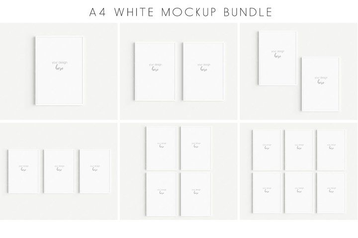 A4 White Frames Mockup Bundle JPG PNG PSD Smart Object/M128