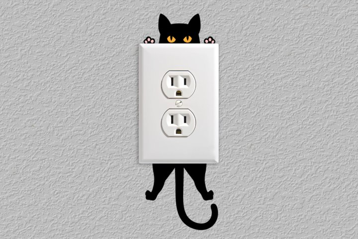 Hanging Cat Outlet Decoration SVG Design