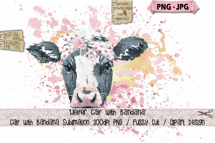 Heifer Calf | Cow | Bandana | Flower Sublimation | Cow PNG