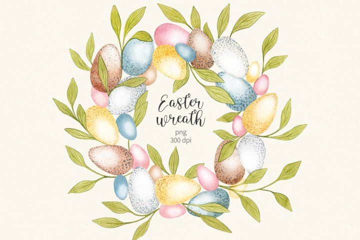 Watercolor Easter Eggs Wreath clipart