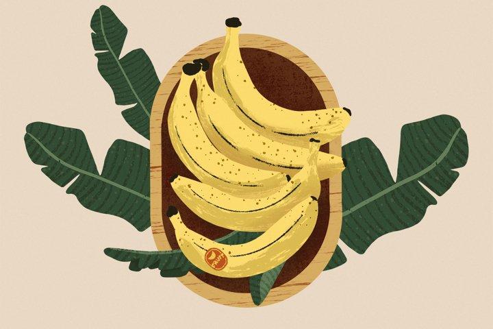 Banana Bowl Hand-drawn Illustration and Patterns