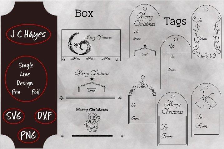 Box and Tags Bundle, Christmas, Single Line, Foil, Sketch,