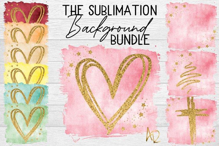 Sublimation Background Bundle | Heart Cross Stars Templates