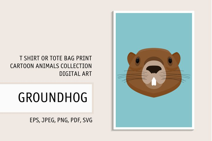 Groundhog portrait. Digital art for t shirt, tote bag print.