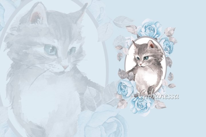 Cat with blue roses