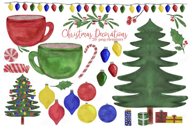 Watercolor Christmas Clipart, Christmas Ornaments Clipart