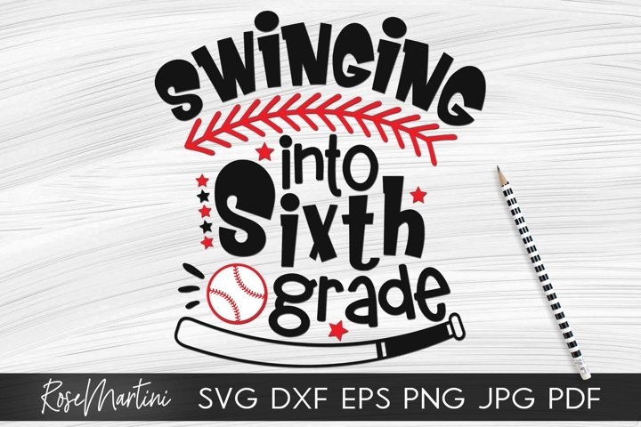Swinging Into Sixth Grade SVG PNG Funny Back To School svg