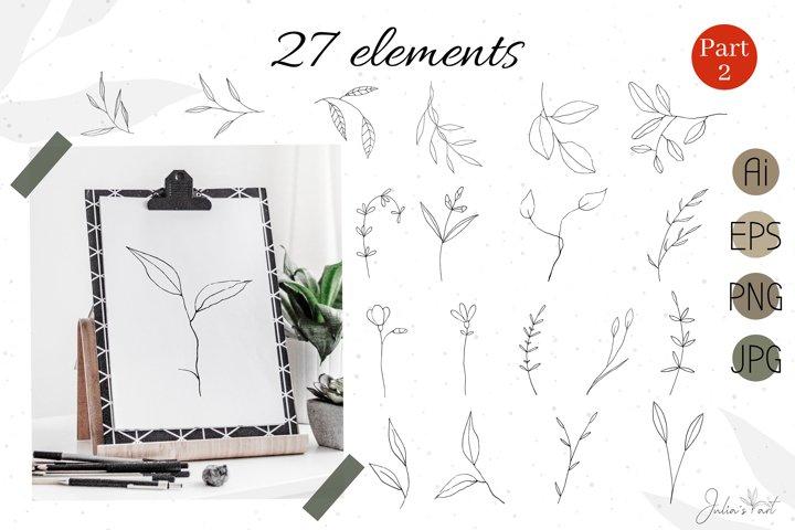 Botanical line art, vector hand-drawn - Ai EPS PNG JPG