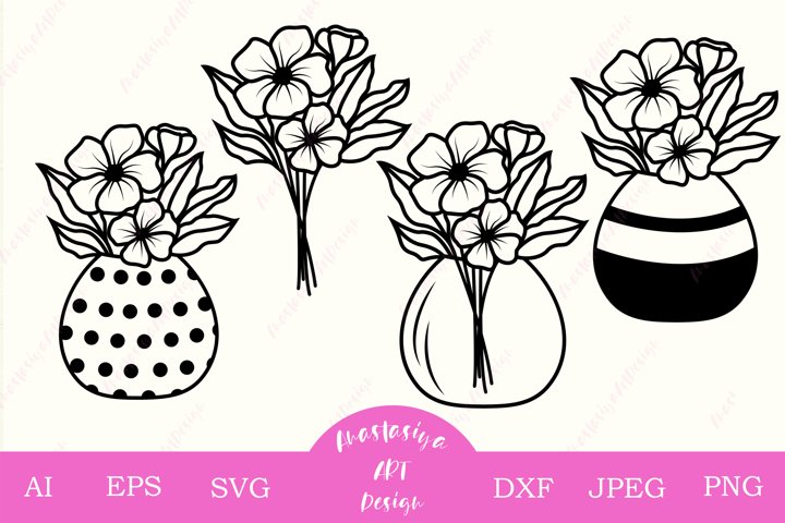 Mason jar with flower bouquet svg cut, Floral clip art dxf