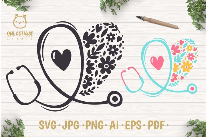 Floral Stethoscope SVG, Nurse Floral SVG, Nurse Tattoo - Free Design of The Week