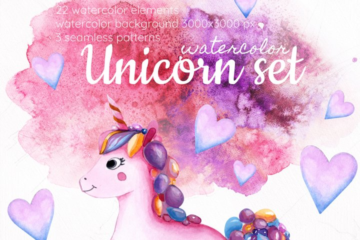 Magic unicorn watercolor Clipart PNG. Rainbow, stars, donuts