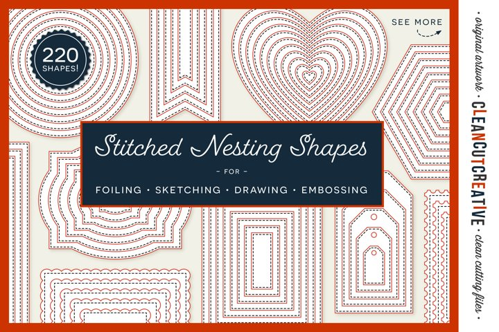 Stitched Nesting Shapes SVG | card making sketch foil paper