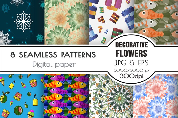 Seamless patterns. Flowers, food, snowflakes, fish