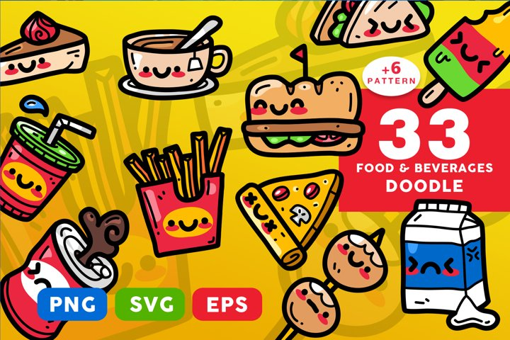 Food And Beverages Doodle Pack