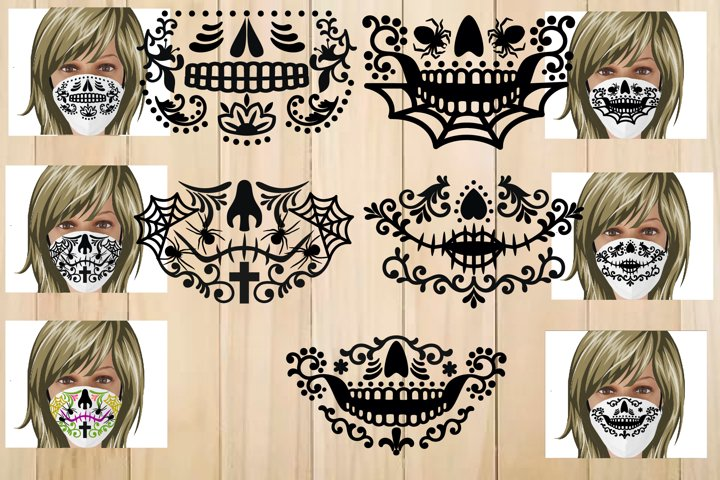 Sugar Skull Face Mask Template, Halloween Face Mask Svg