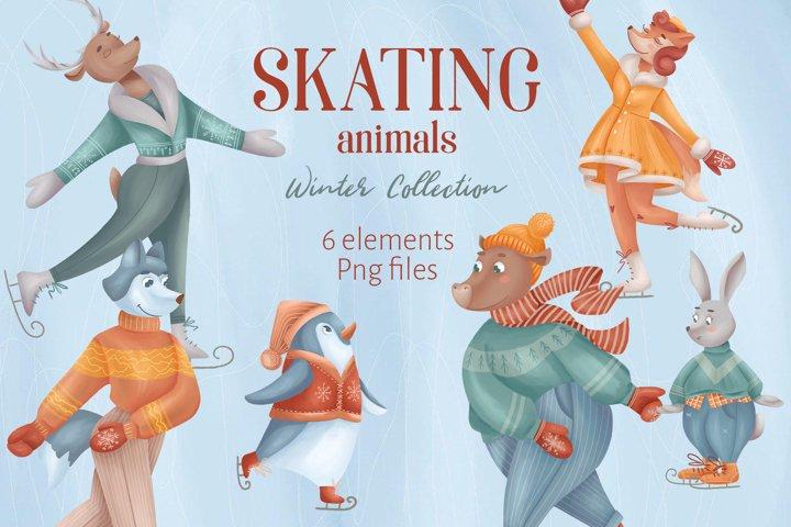 Skating Animals Cliparts
