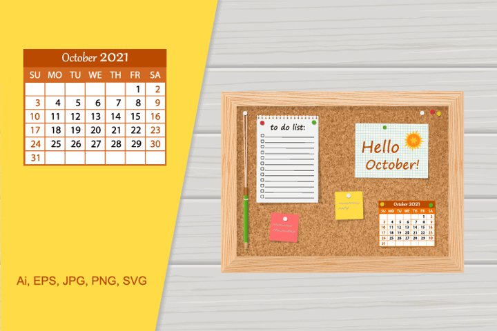 Illustration cork board with 2021 calendar and to do li