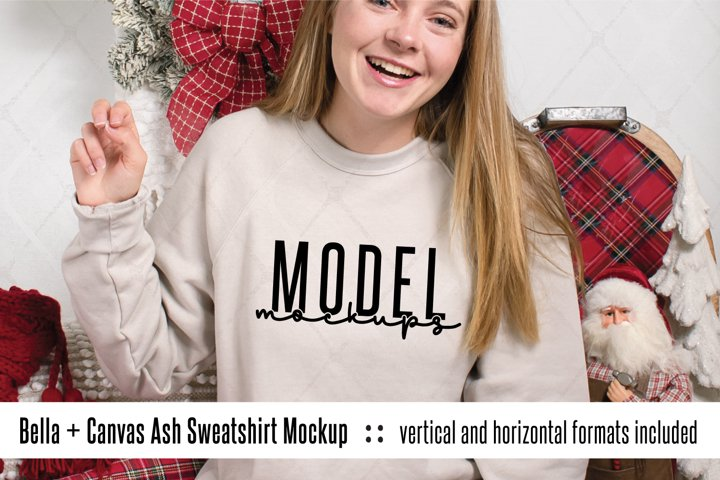 3901 Bella Canvas Heather Dust Christmas sweatshirt mockup